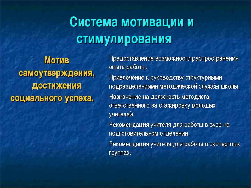 Система мотивации и стимулирования Мотив самоутверждения, достижения соци...