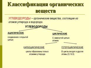 Классификация органических веществ УГЛЕВОДОРОДЫ – органические вещества, сост