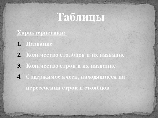 Таблицы Характеристики: Название Количество столбцов и их название Количество...