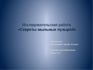 Исследовательская работа «Секреты мыльных пузырей» Выполнил: Пономарёв Сергей