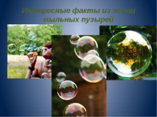 Интересные факты из жизни мыльных пузырей