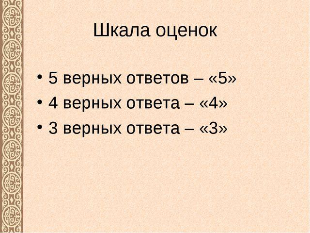 Шкала оценок 5 верных ответов – «5» 4 верных ответа – «4» 3 верных ответа – «3»