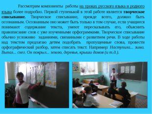 Рассмотрим компоненты работы на уроках русского языка и родного языка боле