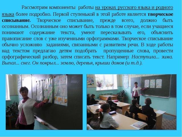 Рассмотрим компоненты работы на уроках русского языка и родного языка боле...