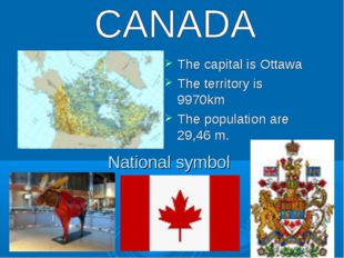 National symbol The capital is Ottawa The territory is 9970km The population