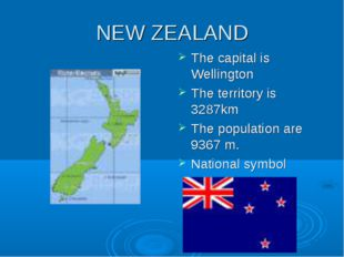 NEW ZEALAND The capital is Wellington The territory is 3287km The population