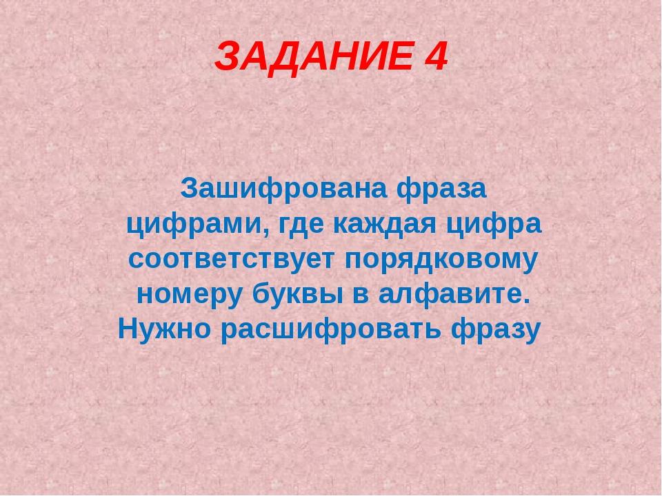 ЗАДАНИЕ 4 Зашифрована фраза цифрами, где каждая цифра соответствует порядково...