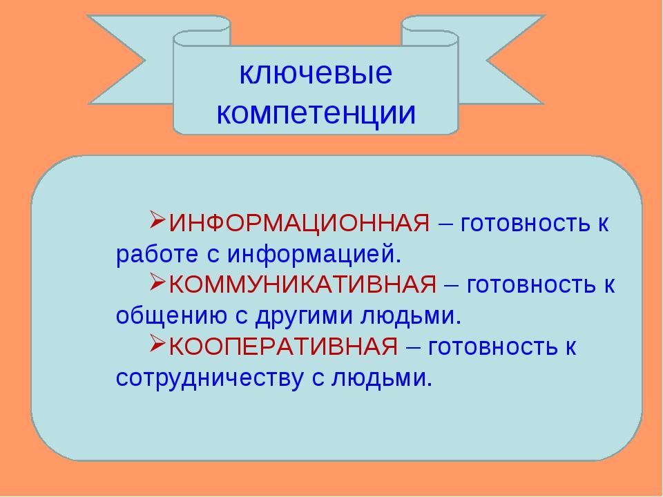 ключевые компетенции ИНФОРМАЦИОННАЯ – готовность к работе с информацией. КОММ...