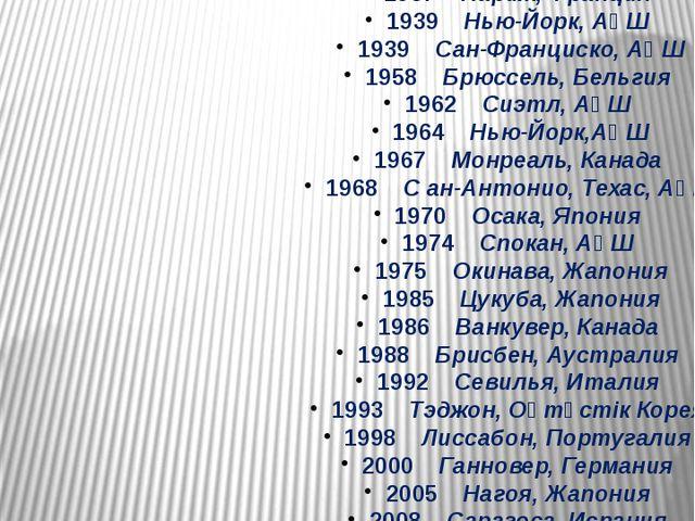 1851 Лондон, Ұлыбритания 1855 Париж, Франция 1876 Филадельфия, АҚШ 1878 Пари...
