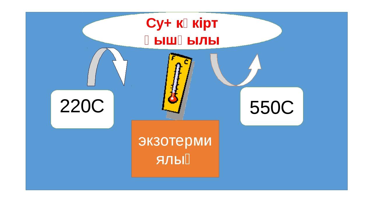 Су+ күкірт қышқылы 220С 550С экзотермиялық