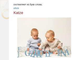 составляют из букв слова; atkze Katze