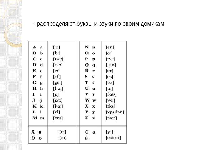 - распределяют буквы и звуки по своим домикам