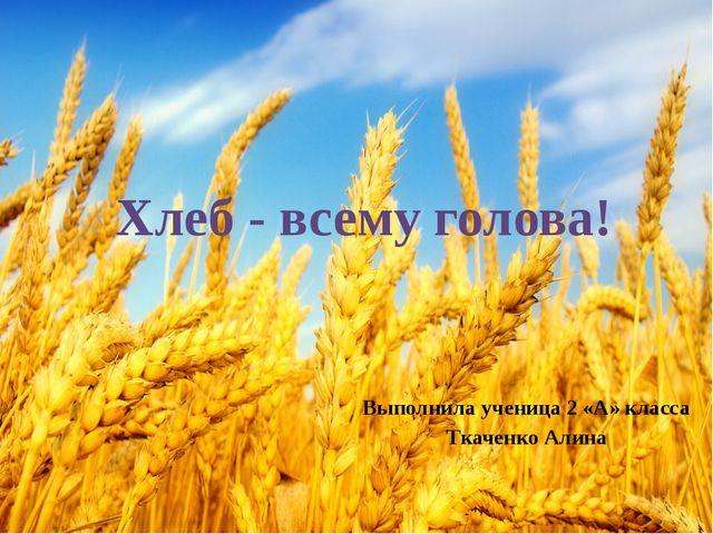 Выполнила ученица 2 «А» класса Ткаченко Алина Хлеб - всему голова!