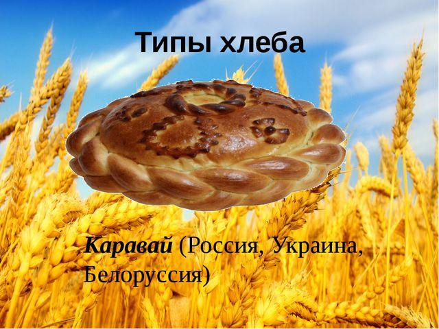 Типы хлеба Каравай(Россия, Украина, Белоруссия)
