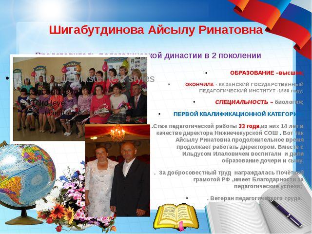 Шигабутдинова Айсылу Ринатовна Представитель педагогической династии в 2 поко...