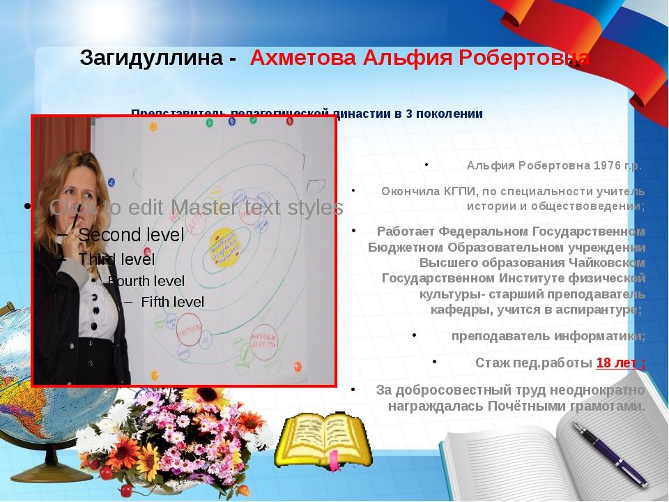 Загидуллина - Ахметова Альфия Робертовна Представитель педагогической династ...