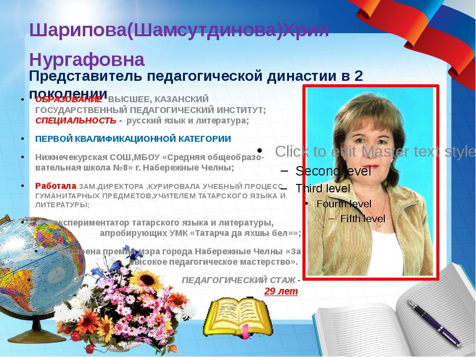 Шарипова(Шамсутдинова)Хрия Нургафовна Представитель педагогической династии в...