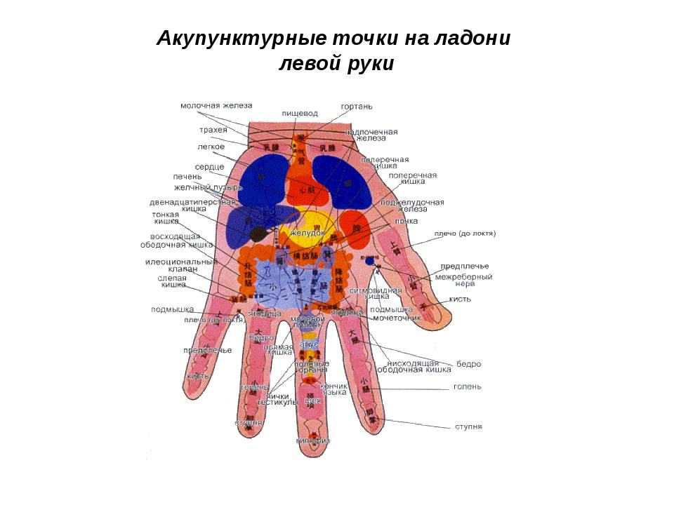 Акупунктурные точки на ладони левой руки