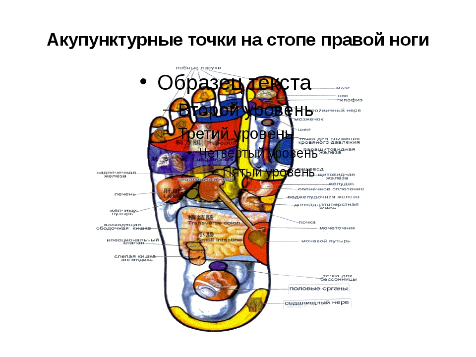 Акупунктурные точки на стопе правой ноги