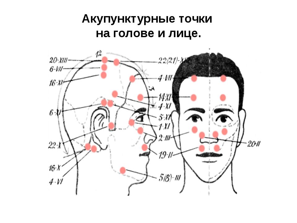 Акупунктурные точки на голове и лице.