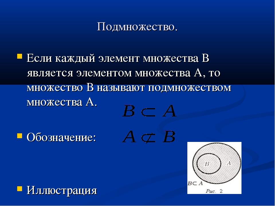 Подмножество. Если каждый элемент множества В является элементом множества А,...