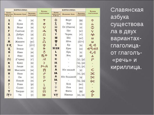 Славянская азбука существовала в двух вариантах-глаголица-от глаголъ- «речь»...