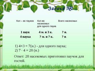 Задача №2 1 паук 4 паука 4 м. и 3 к. ? м. и ? к. ? н. ? н. 1) 4+3 = 7(н.) -