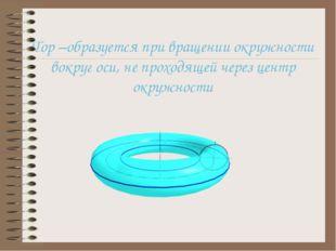 Тор –образуется при вращении окружности вокруг оси, не проходящей через цент