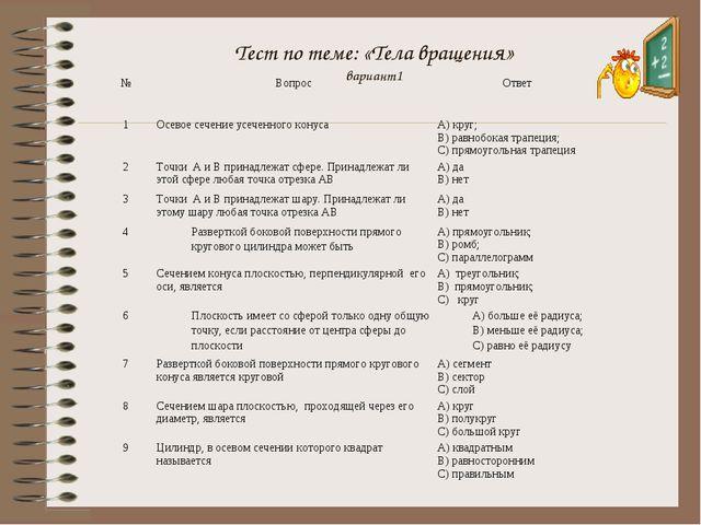 Тест по теме: «Тела вращения» вариант1 №ВопросОтвет 1Осевое сечение усече...
