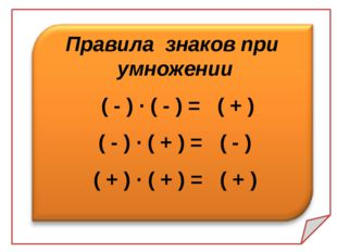Правила знаков при умножении ( - ) · ( - ) = ( + ) ( - ) · ( + ) = ( - ) ( +
