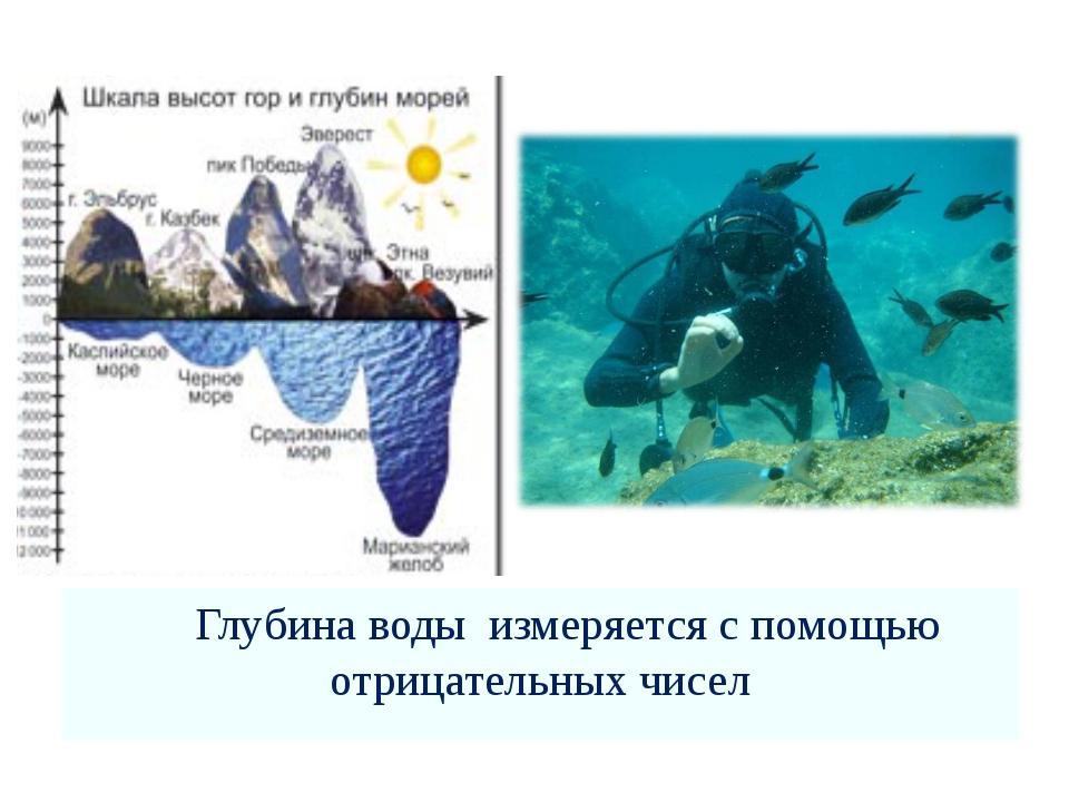 Глубина воды измеряется с помощью отрицательных чисел
