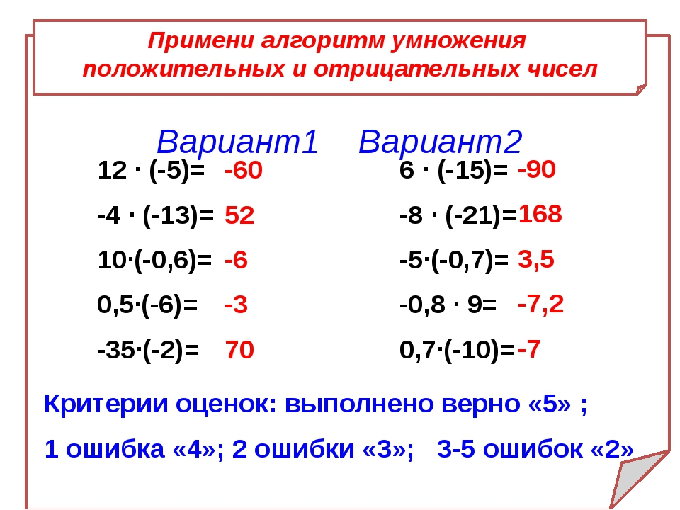 Примени алгоритм умножения положительных и отрицательных чисел Вариант1 Вари...