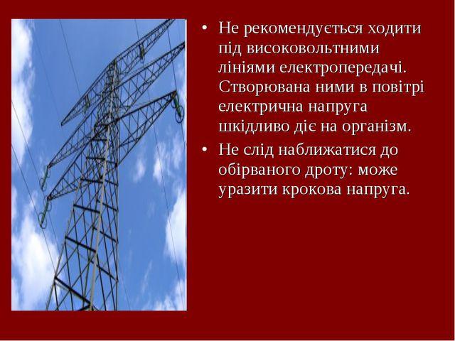 Не рекомендується ходити під високовольтними лініями електропередачі. Створюв...