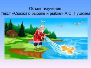 Объект изучения: текст «Сказки о рыбаке и рыбке» А.С. Пушкина