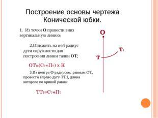Построение основы чертежа Конической юбки. 1. Из точки О провести вниз вертик
