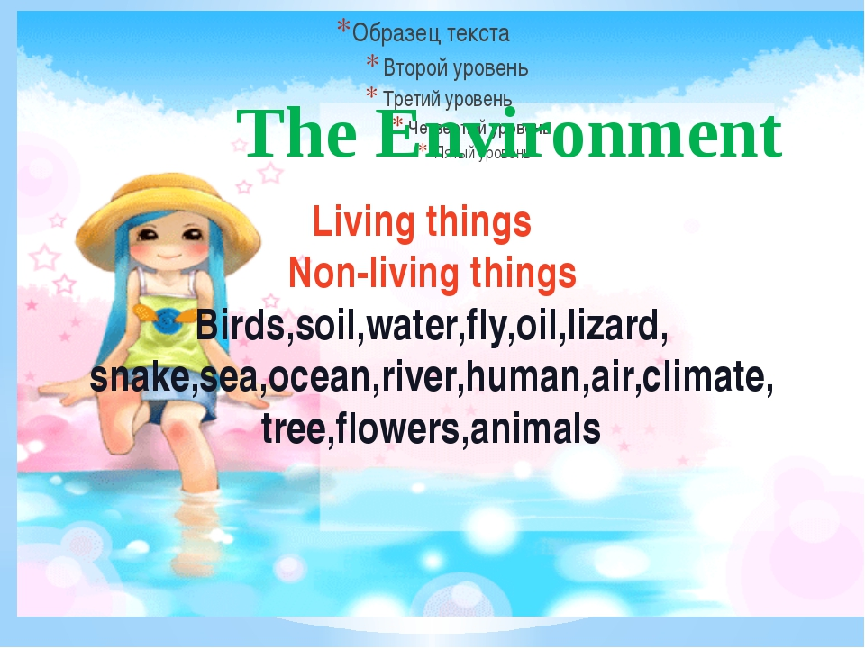 Living things Non-living things Birds,soil,water,fly,oil,lizard, snake,sea,oc...