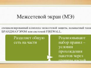 Межсетевой экран (МЭ) специализированный комплекс межсетевой защиты, называем