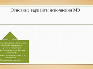 Основные варианты исполнения МЭ Простота внедрения в технологию обработки инф