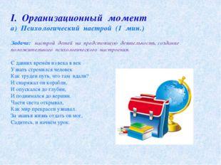 І. Организационный момент а) Психологический настрой (1 мин.) Задача: настрой