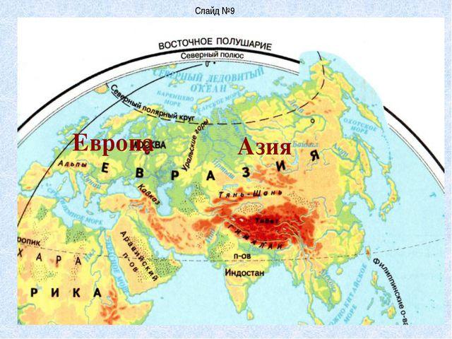 Слайд №9 Европа Азия