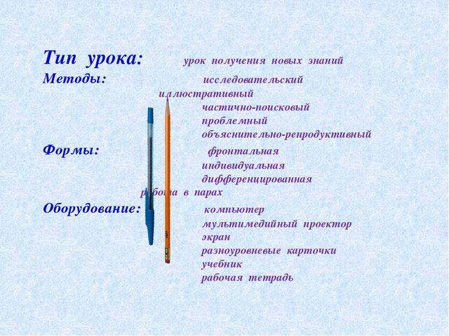Тип урока: урок получения новых знаний Методы: исследовательский  иллюстрат...