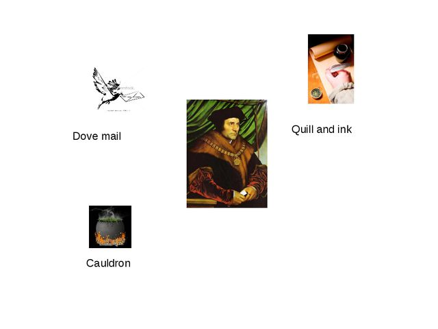 Dove mail Quill and ink Cauldron