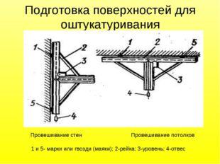 Подготовка поверхностей для оштукатуривания Провешивание стен Провешивание по