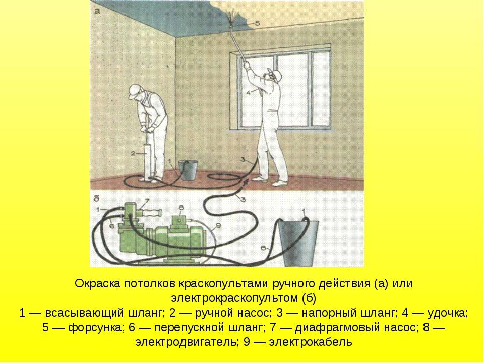 Окраска потолков краскопультами ручного действия (а) или электрокраскопультом...