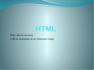 HTML Web сайтты тестілеу Сайтты жариялау және бақылап отыру