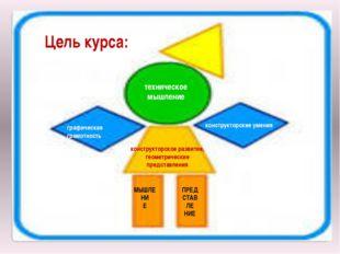 Цель курса: техническое мышление графическая грамотность конструкторские умен