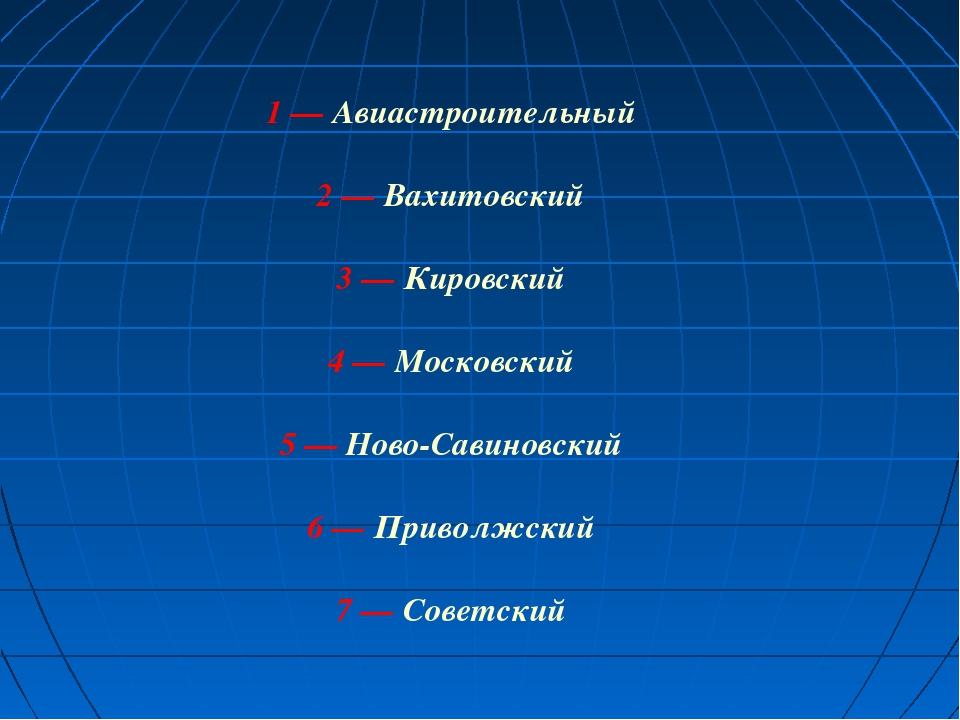 1—Авиастроительный 2—Вахитовский 3—Кировский 4—Московский 5—Ново-Са...