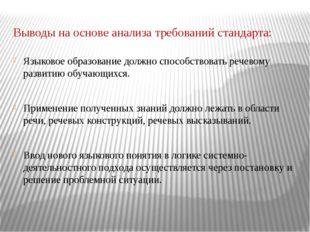 Выводы на основе анализа требований стандарта: Языковое образование должно сп