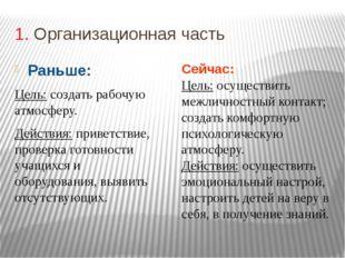 1. Организационная часть Раньше: Цель: создать рабочую атмосферу. Действия: п