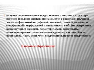 получит первоначальные представления о системе и структуре русского и родного